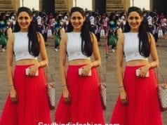 Pragya Jaiswal in a crop top and skirt