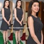 Pranitha Subhash in a polka dotted black dress
