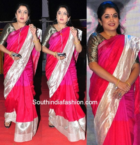 Ramya Krishna in a pink saree
