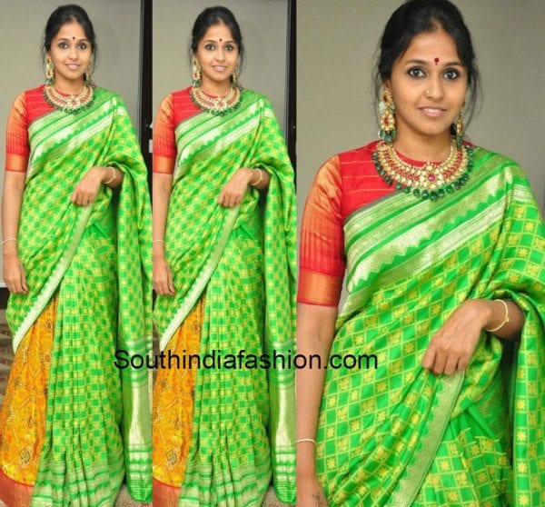 Smitha in a silk saree 600x558