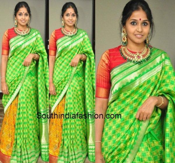 Smitha in a silk saree