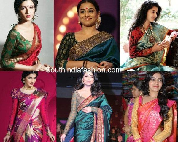 full sleeved blouses for kanjeevarams feat
