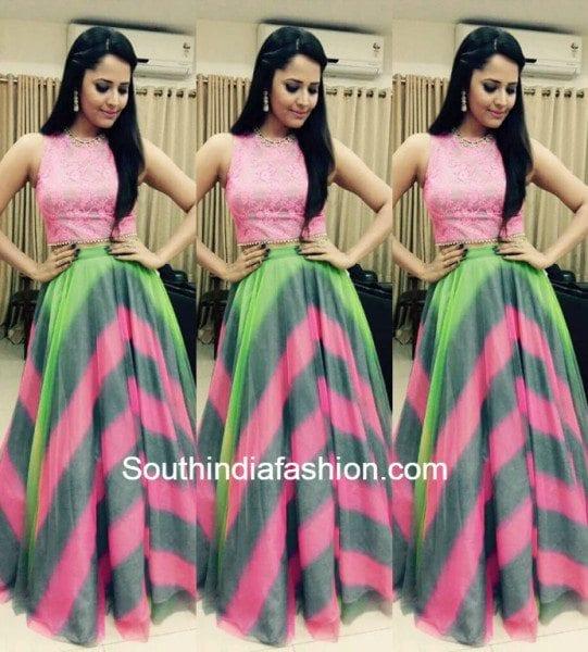Anasuya in a crop top and skirt