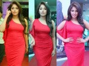 Anjali in a red dress at a Dictator event