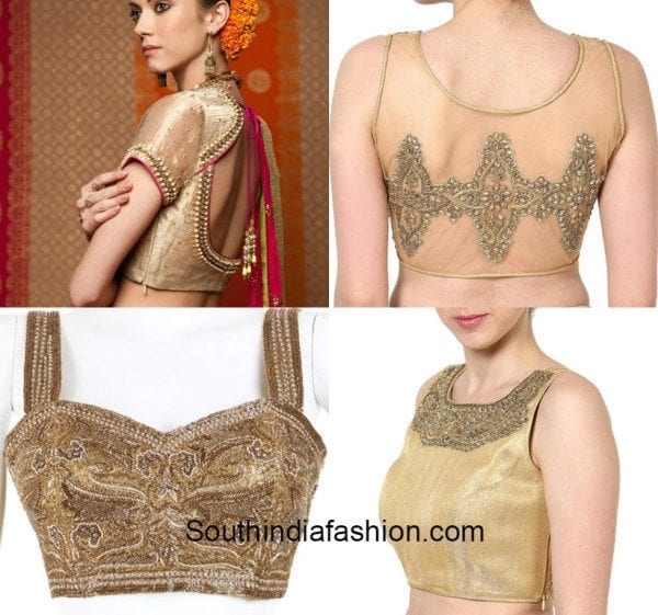 Gold blouses with embellishments