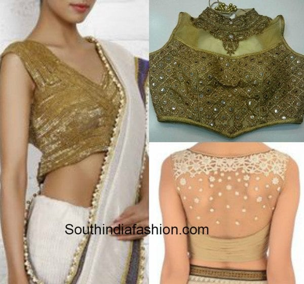 Gold blouses with stone work and net fabric