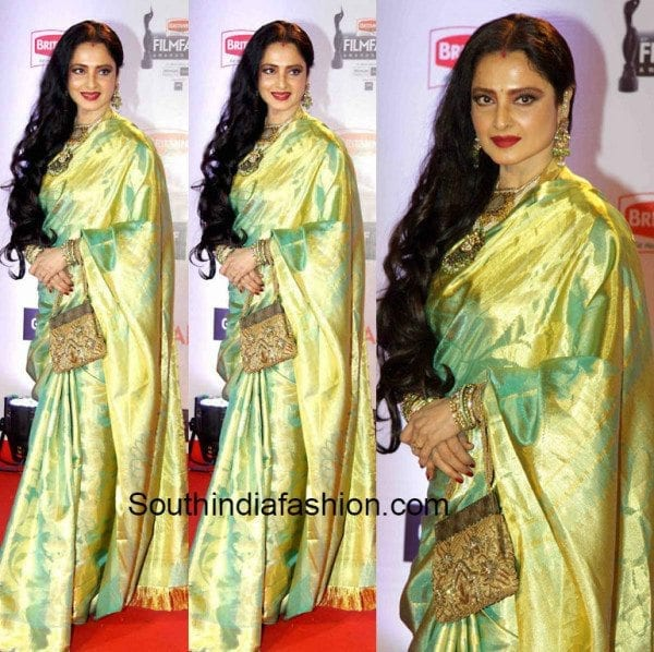 Rekha-in-a-green-kanjeevaram-at-the-61st-Britannia-Filmfare-awards-600x598