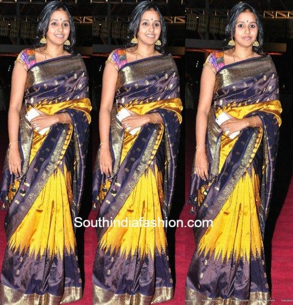 Smitha in a traditional kanjeevaram at Pearl V Potluris half saree function