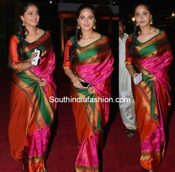 anushka shetty in pattu saree 2016 • South India Fashion