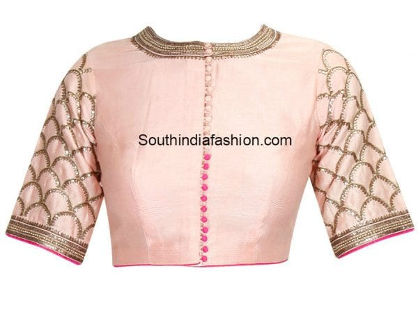 closed neck elbow sleeve blouse