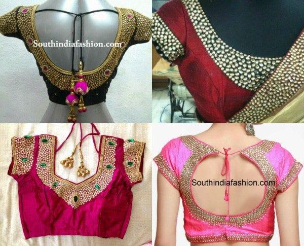 kundan_work_blouse_designs_for_wedding_silk_sarees