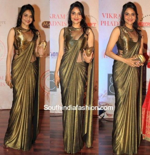 madhoo_bala_gauravgupta_gold_saree_gown