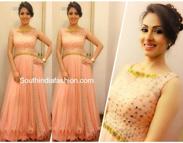 Sada in Mugdhas Peach Long Gown