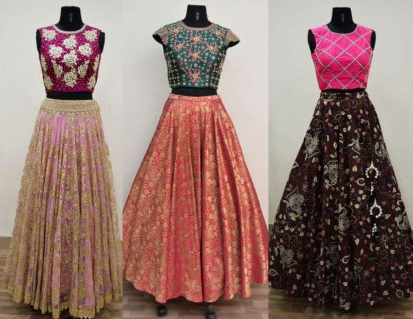 Designer Long Skirts and Crop Tops by Ashwini Reddy u2013South India Fashion
