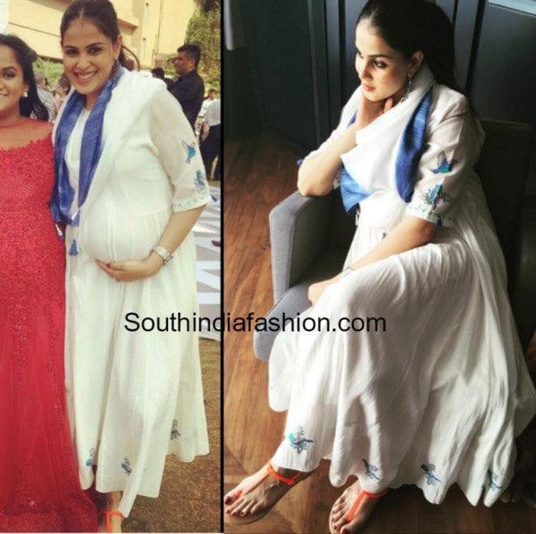 Genelia D'Souza flaunts her baby bump in Anita Dongre ...
