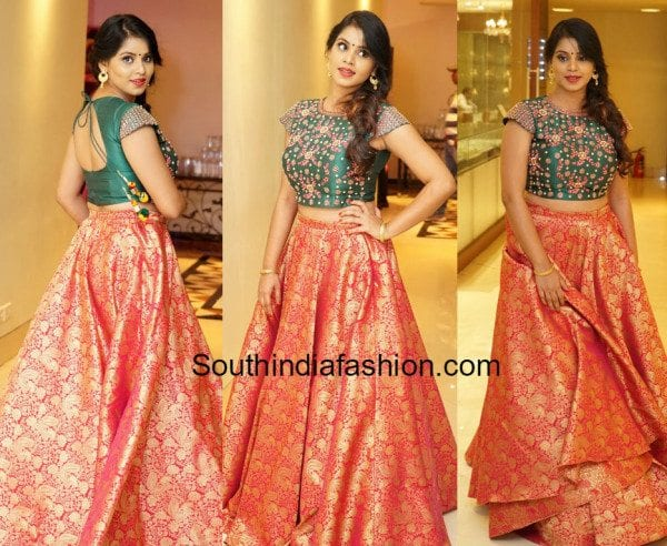 Sai Krupa In Long Skirt And Crop Top South India Fashion