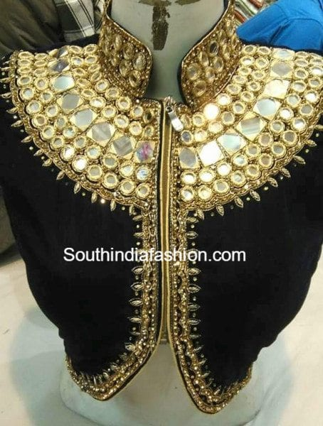 Beautiful high neck embroidered zipper front blouse designs .