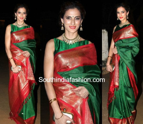 shilpa_reddy_green_kanchipuram_pattu_saree