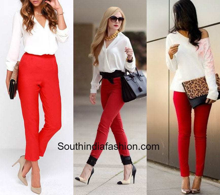 Red Pants with white shirt