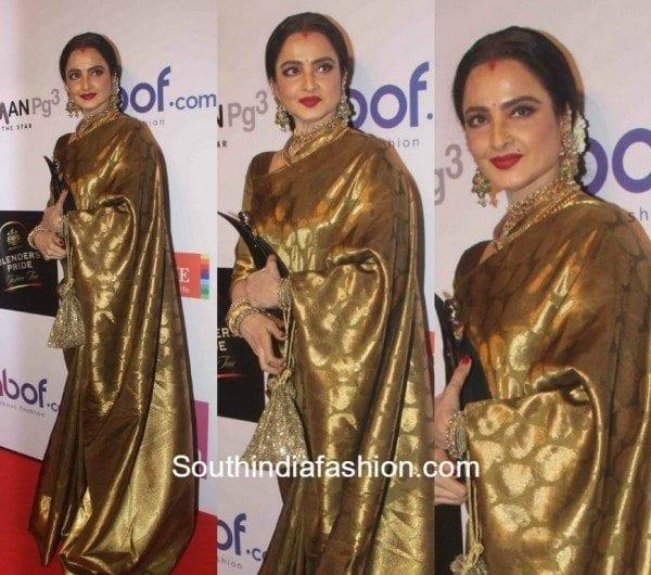 Rekha-in-a-kanchipuram-saree-at-the-Hindustan-Times-Awards-600x530