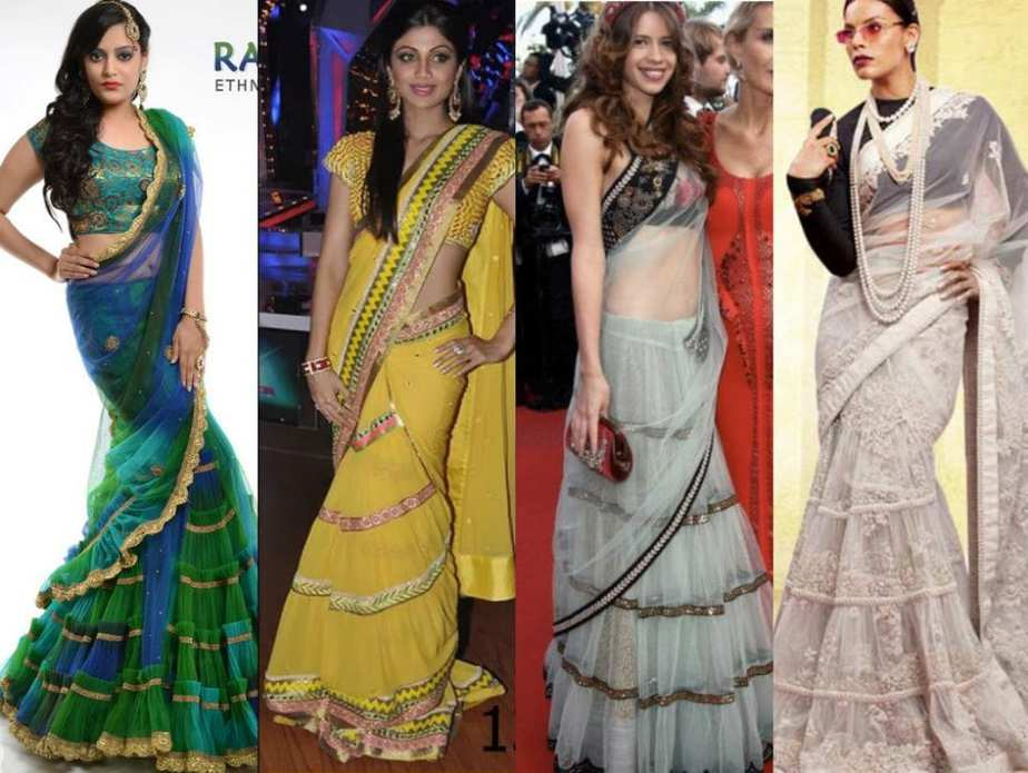Beauty of Frilled Sarees – South India Fashion