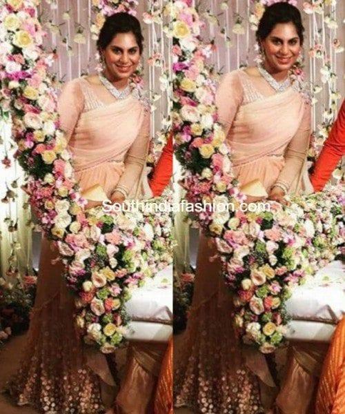 upasana_kamineni_peach_gown_in_sreeja_wedding
