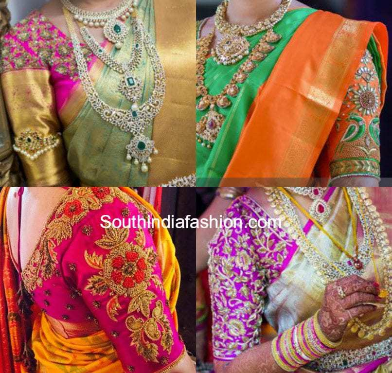 The whole look of the saree is completed with a matching blouse and ...