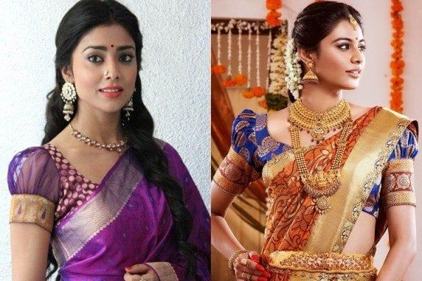 puff sleeves blouse with kanjeevaram sarees