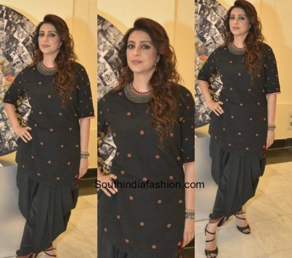 Tabu in an elegant black salwar