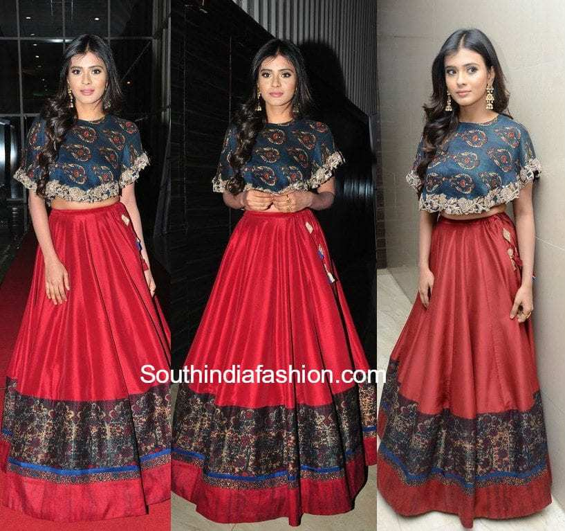 Simple and Pretty Long Skirt and Crop Top • South India Fashion