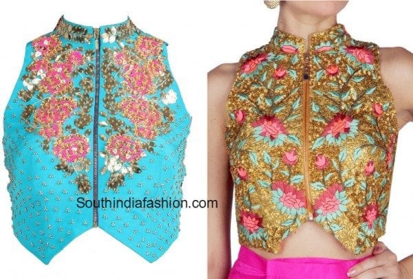 high_neck_zipper_front_floral_blouse
