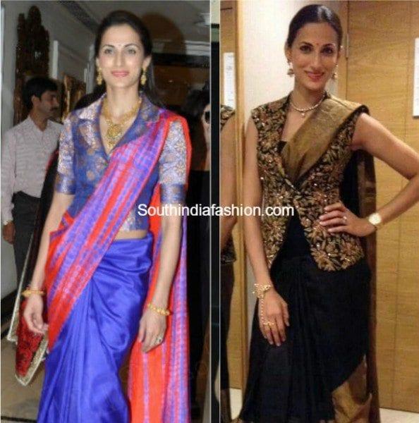 jacket-style_blouse_with_kanjeevaram_sarees