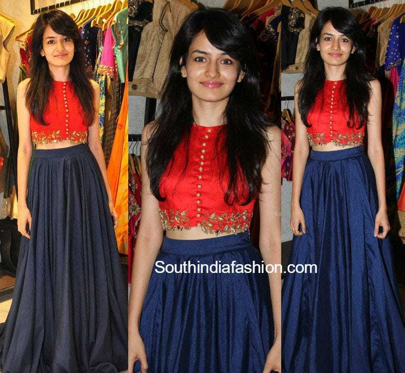Simple And Pretty Long Skirt And Crop Top South India