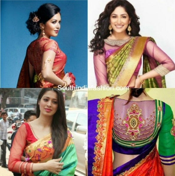 net_blouse_designs_for_silk_sarees