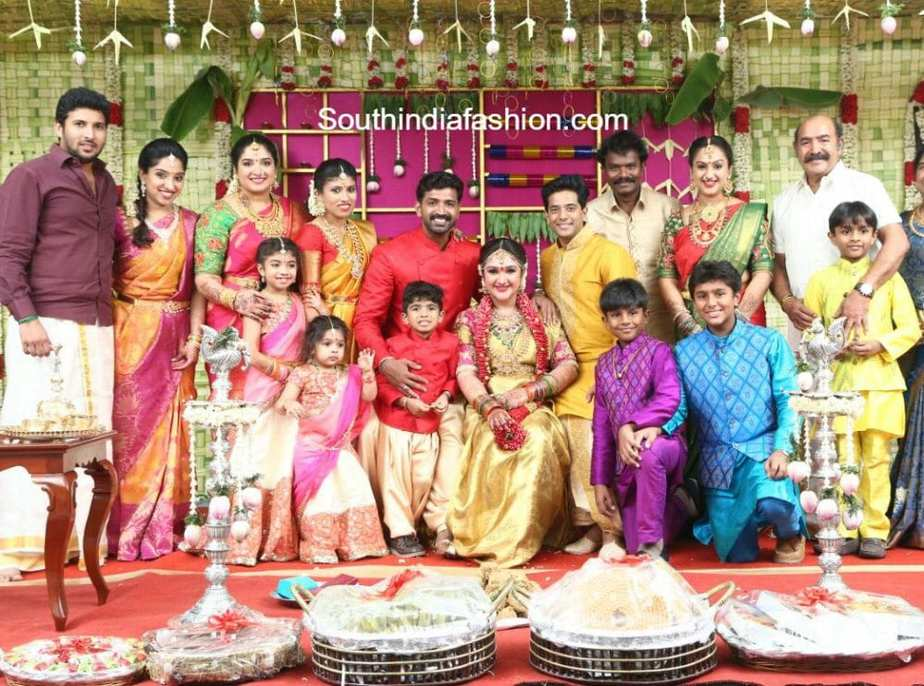 Sridevi vijaykumar 39 s baby shower south india fashion for Baby shower function decoration