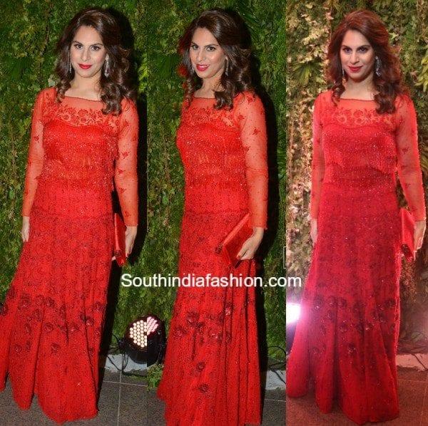 upasana_kamineni_red_gown_srija_wedding_reception