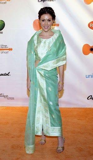 Hollywood Celebrities Alyssa Milano in saree