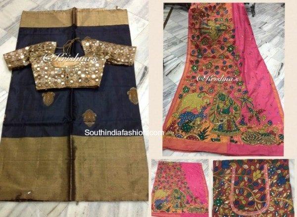 Traditional Sarees With Designer Blouses by Krishnas Designer Studio