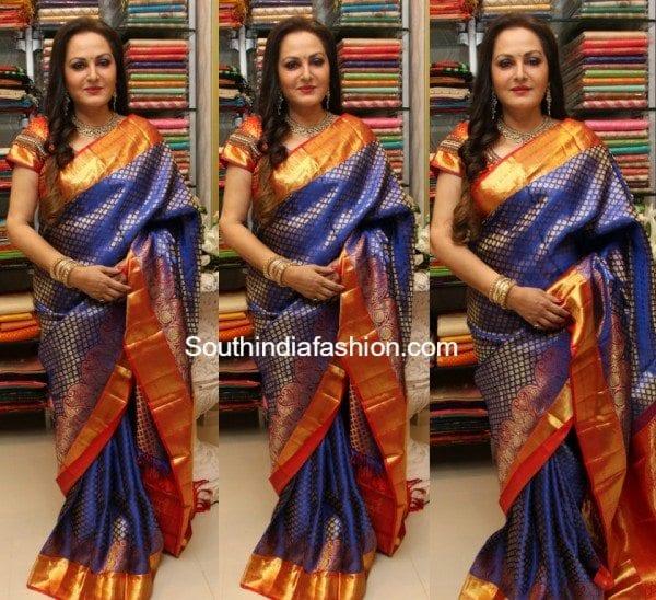 Jayapradha in a blue Kanjeevaram saree