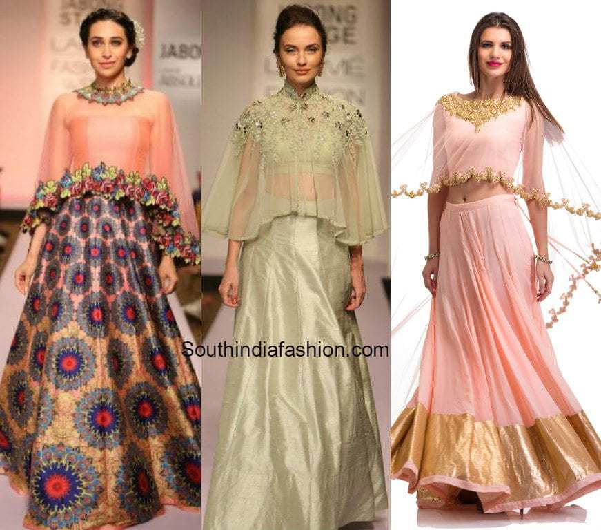 5 edgy blouse designs with lehenga skirts south india for Cape designs
