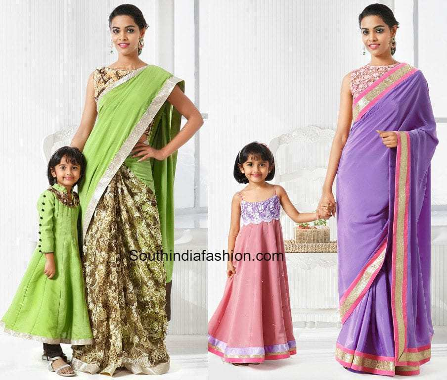 Adorable Mother Daughter Matching Outfits! u2013South India Fashion
