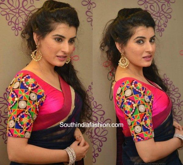plain_saree_kutch_work_blouse