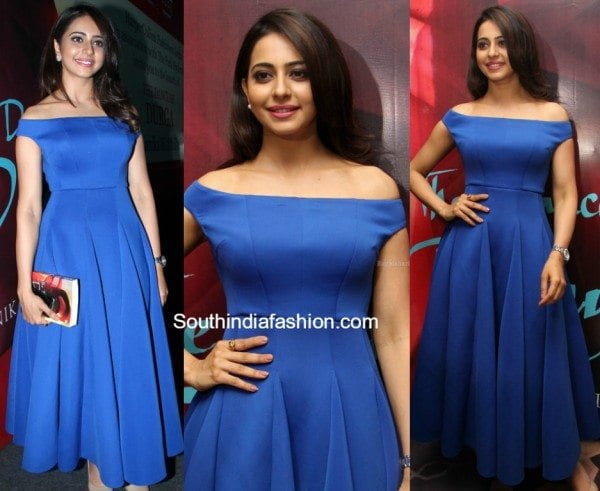 rakulpreetsingh_blue_mintblush_dress_kanikadhillon_book_launch