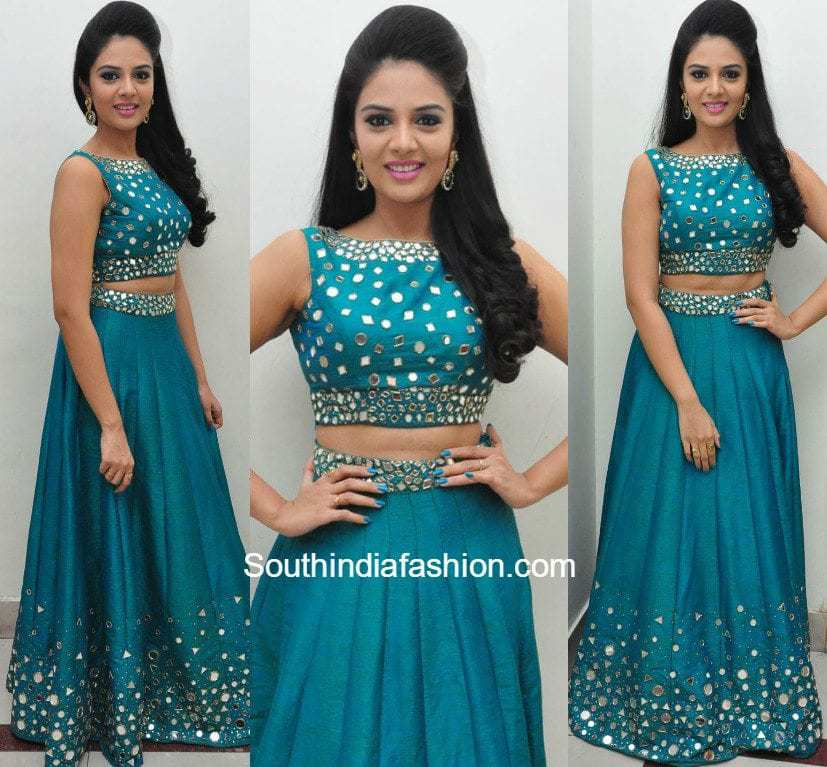 48fc5f3e9 Sreemukhi in a mirror work lehenga and crop top – South India Fashion