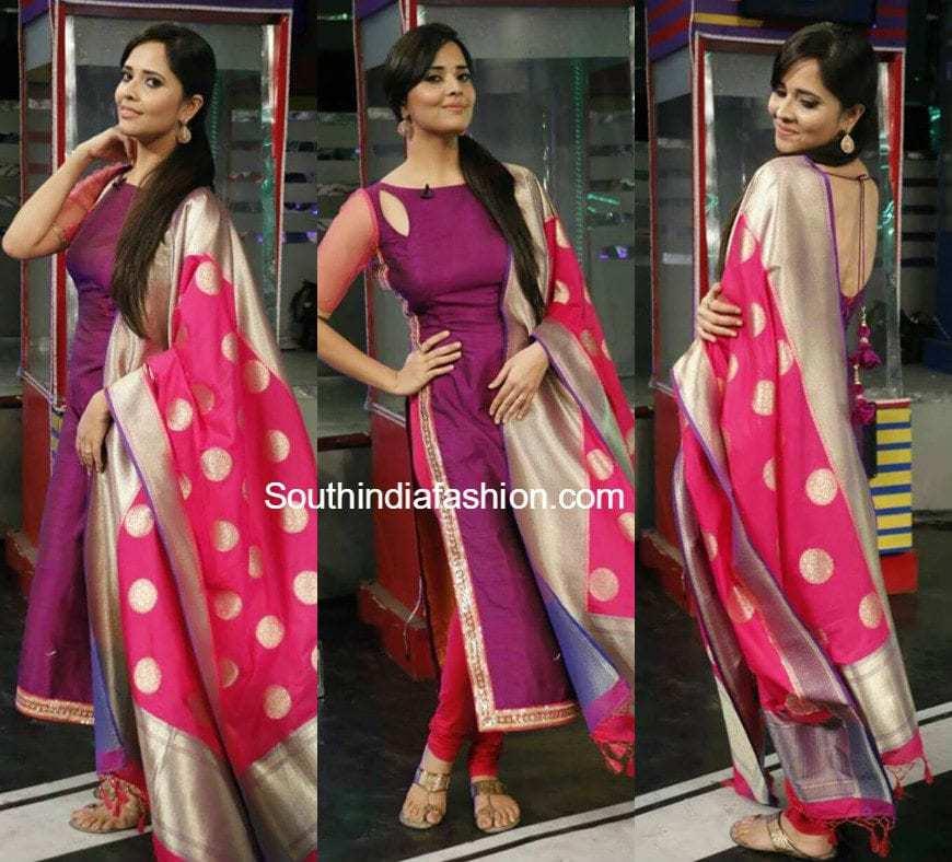 f4dd57941d Anasuya in Ashwini Reddy Salwar Suit. By. southindiafashion