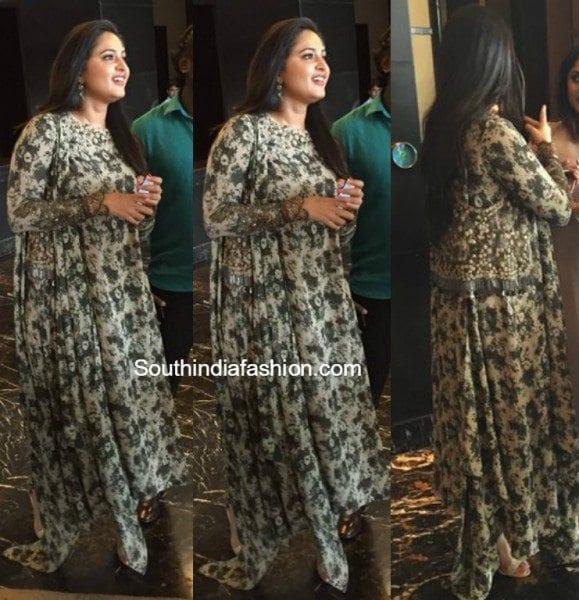 Anushka Shetty In A Printed Anarkali South India Fashion