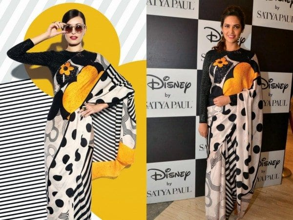 Cartoon-Print Sarees by Indian Designers