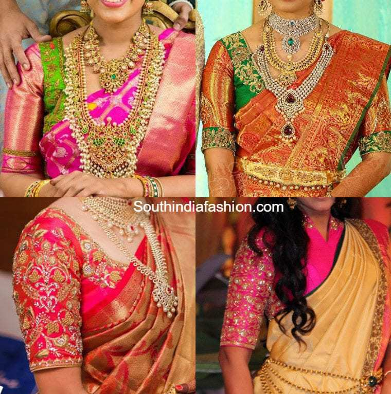 Elbow Length Blouse Designs For Wedding Kanjeevaram Sarees Beautiful Sleeves Maggam Embroidered Silk