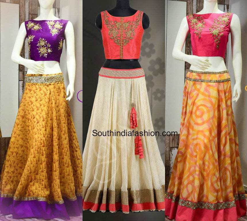 Designer Long Skirts and Crop Tops by Issa • South India Fashion