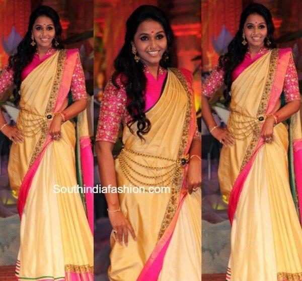 pop_singer_smitha_silk_saree_shravan_kumar_fashion-show
